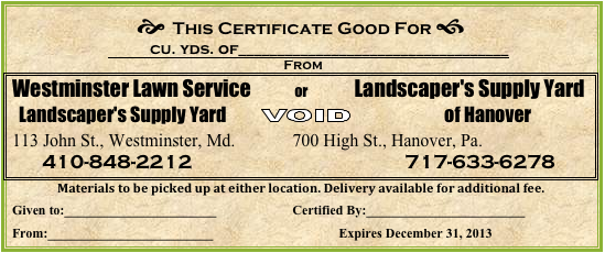 Westminster Lawn | Landscaping | Gift Certificate | Garden Supply